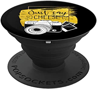 just say cheese photography vintage camera for photographer PopSockets Grip and Stand for Phones and Tablets