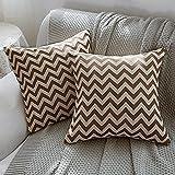 Btyrle Juego de 2 fundas de cojín con estampado geométrico de 45 x 45 cm, color marrón con patrón de ondas, mezcla de lino, para el hogar o el salón