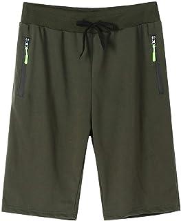 Shorts for Men, F_Gotal Men's Cotton Casual Solid Drawstring Elastic Waist Big&Tall Sports Pants Jogger Shorts Sweatpants