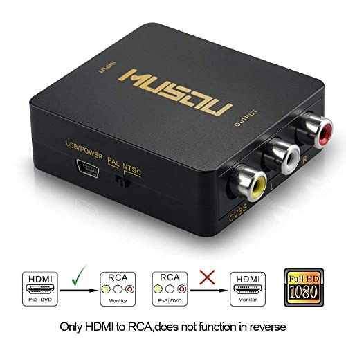 Conversores de V/ídeo,Asbter HD 1080P HDMI a AV RCA CVBS Adaptador Mini HDMI2AV Video Converter Box para HDTV TV PS3 PC PC VCR NTSC