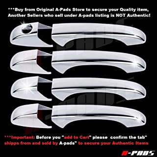 A-PADS 4 Chrome Door Handle Covers for Chrysler 300+C 2005-2010 / SEBRING 2007-2011 / TOWN & COUNTRY 2008-2016 / Jeep COMPASS 07-2012 - WITHOUT Passenger Keyhole
