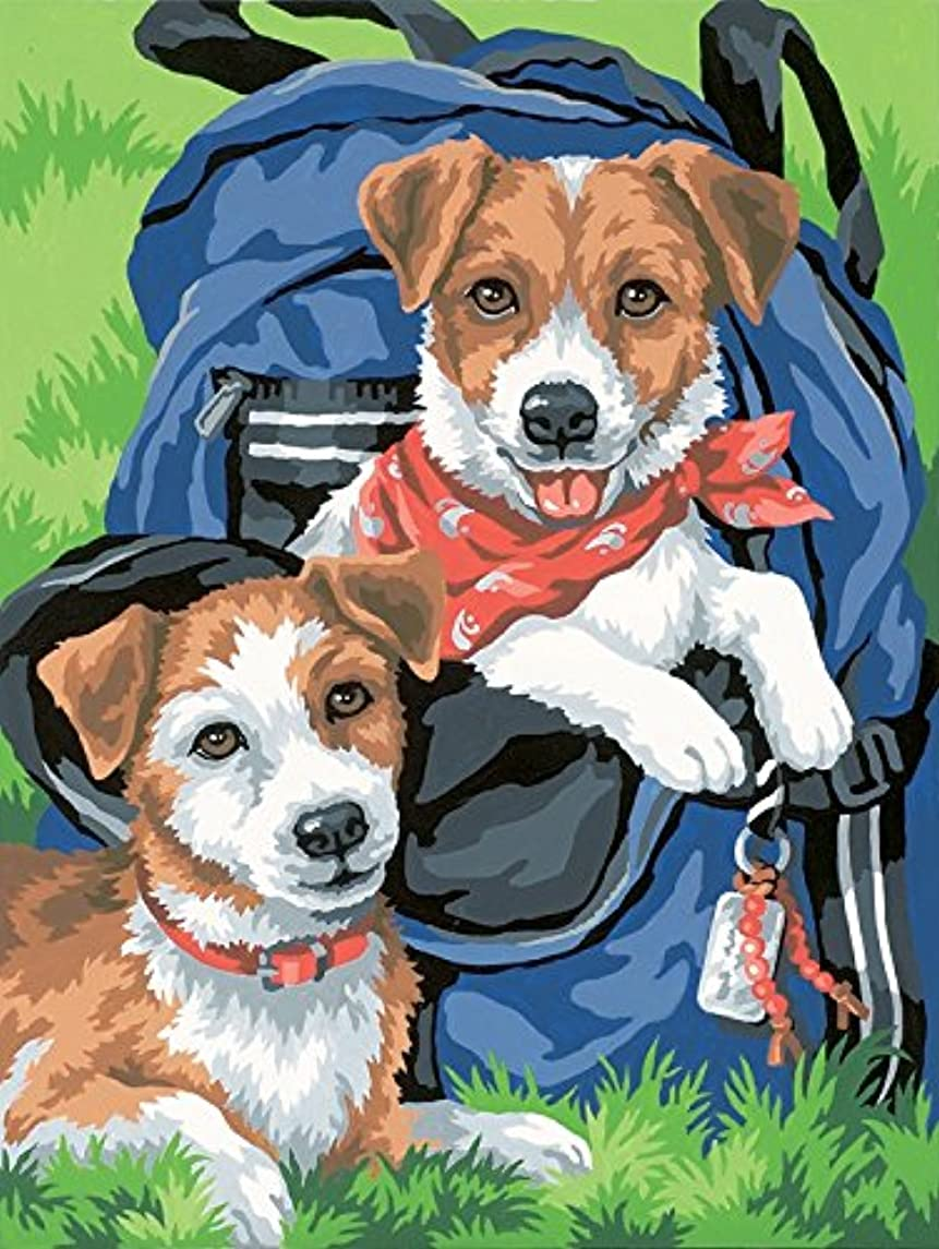 Dimensions Puppies in a Backpack Paint by Numbers for Adults, 9'' W x 12'' L