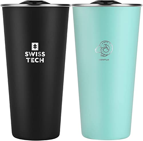 2021 SWISS+TECH 16oz Stainless Steel Cups, 2 Pack Double Wall Pint Cup Glasses, Insulated lowest Tumbler with Lid, Durable lowest Cups(Green&Black) online