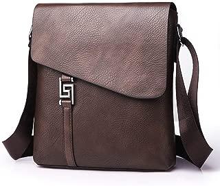 PU Leather Messenger Bag, Big Capacity Men Shoulder Messenger Bag Durable Wear Resistant Crossbody Multipurpose Sling Bag for Business Travel Leisure (Color : Khaki)