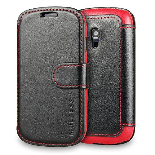 Mulbess Handyhülle für Samsung Galaxy S3 Mini Hülle Leder, Samsung Galaxy S3 Mini Handytasche, Layered Flip Schutzhülle für Samsung Galaxy S3 Mini Hülle, Schwarz