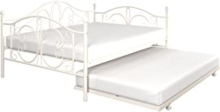 DHP Bombay Metal Full Size Daybed Frame with Included Twin Size Trundle, White
