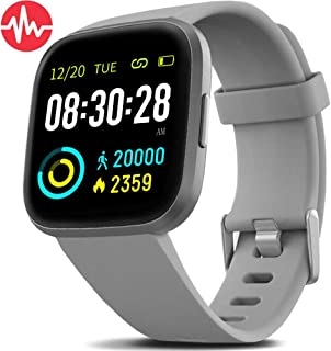 FITVII Health & Fitness Smart Watch with Blood Pressure Heart Rate Monitor, ip68 Waterproof Bluetooth Smartwatch for Android iOS Phone,Sleep Tracking Calorie Counter,Pedometer Stopwatch for Women Men