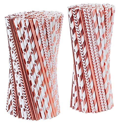 Tupa 100 Pezzi in Oro Rosa Cannucce di Carta USA e Getta Cannucce di Stagnola Biodegradabile in Oro Rosa a Righe e Paglie di Carta Solido per Le Decorazioni di Celebrazioni di Nozze del Partito (100)