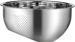 OUZHOU Dräneringskorg – ris tvättskål, 304 rostfritt stål dräneringskruka med kraftiga handtag och självdränerande, för ri...