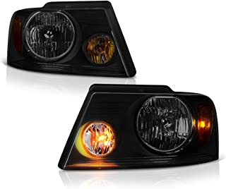 VIPMOTOZ Black Smoke Headlight Headlamp Assembly Replacement For 2004-2008 Ford F-150 & Lincoln Mark LT Pickup Truck, Driver & Passenger Side