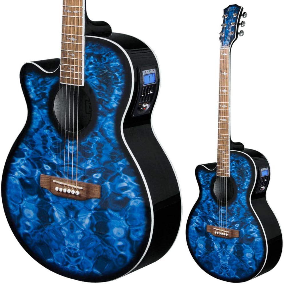 Lindo Guitarra electroacústica para zurdos con preamplificador activo, sintonizador digital, XLR/Jack y bolsa acolchada