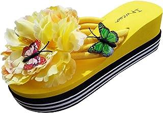 Sandalias y Chancletas de tacón Alto Plataforma para Mujer Patrón de Mariposa de Moda Flor Zapatilla Playa Zapatos de Vera...