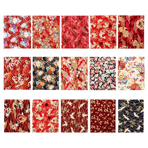 Exceart - 15 piezas de algodón con hoja de tela japonesa, estilo costura, tejido de patchwork, tela de bricolaje, artesanía, tela fotográfica, accesorios para bolso, álbumes de recortes, 25 x 20 cm