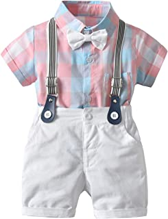 Toddler Baby Boy Gentleman Outfits Set Plaid Short Sleeves Romper Jumpsuit Top + White Bib Pants+ Bow Tie