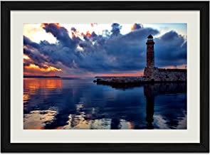 Lighthouse Clouds - Art Print Wall Black Wood Grain Framed Picture(16x12inches)