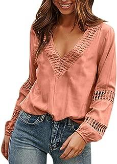 LEKODE Women T-Shirts Fashion Solid Lace Long Sleeve Coat