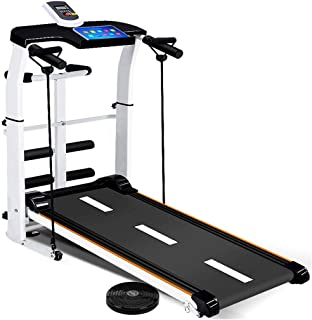 Folding Treadmill, 4 in 1 Tredmills for Shock Running, Supine, T-wisting, Draw Rope with LED Display and Pad Holder Compact Running Walking Jogging Workout Machine for Home Gym Cardio Fitness