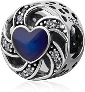 Soulbeads Jewelry Swirl Ribbon Heart Charm 925 Sterling Silver Hollow Out Love Charm for European Bracelet (Blue)