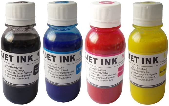 PrinterKnow Compatible Sublimation ink,heat press ink for Epson WF-7510 WF-7520 WF-7010;WF-3520 WF-3540;for mugs,t-shirts,plates,mouse mats,polyester fabrics etc.400ml (100ml each cyan magenta yellow and black)