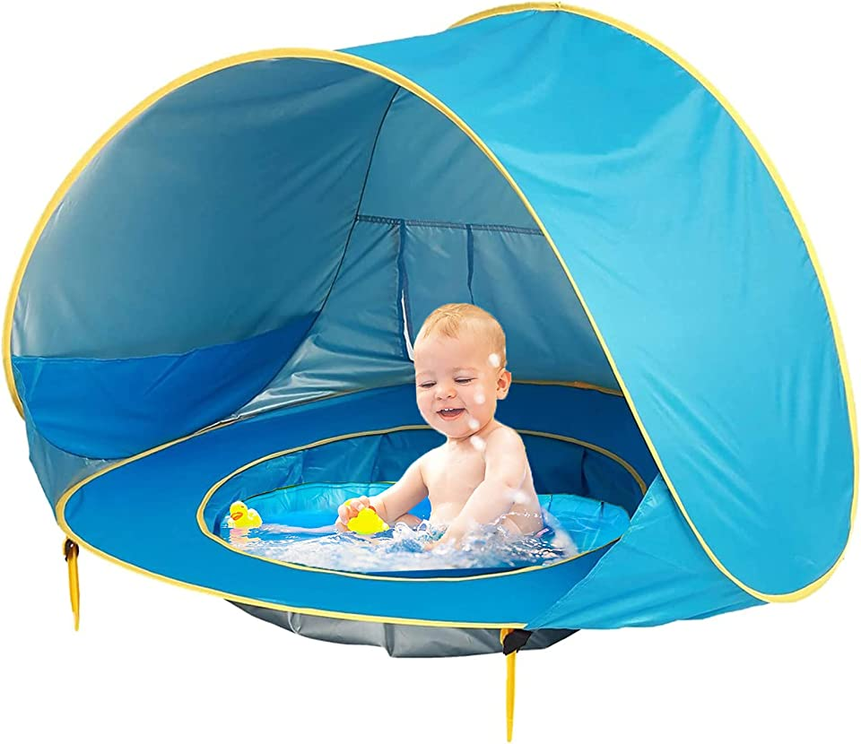 Pop Up Baby Beach Tent,Automatic Portable Lightweight UV Protection Sun Shade Shelter with Baby Pool for Family Picnic Garden Indoor and Outdoor Use