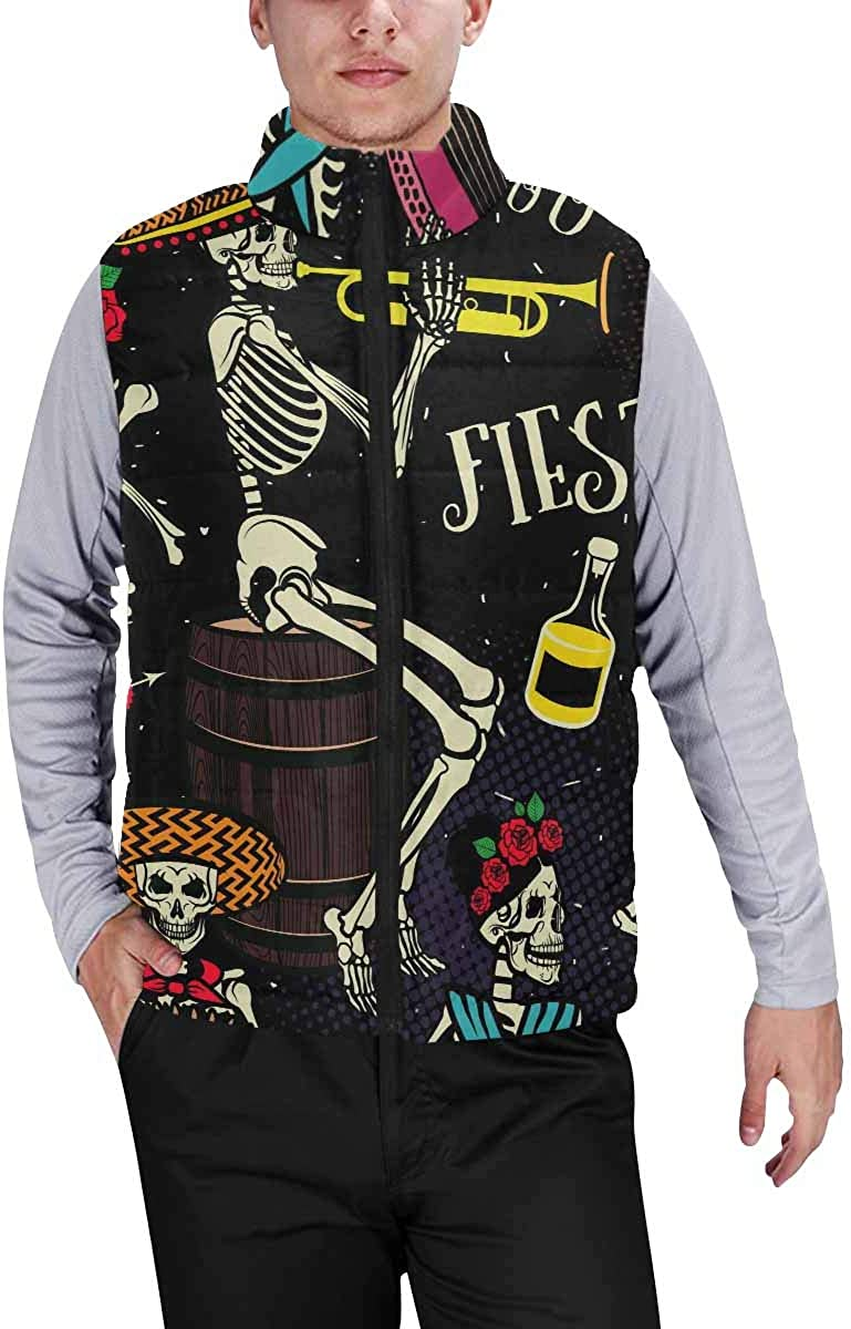 InterestPrint Winter Outwear Casual Padded Vest Coats for Men Pattern with Indian Elephants and Flowers