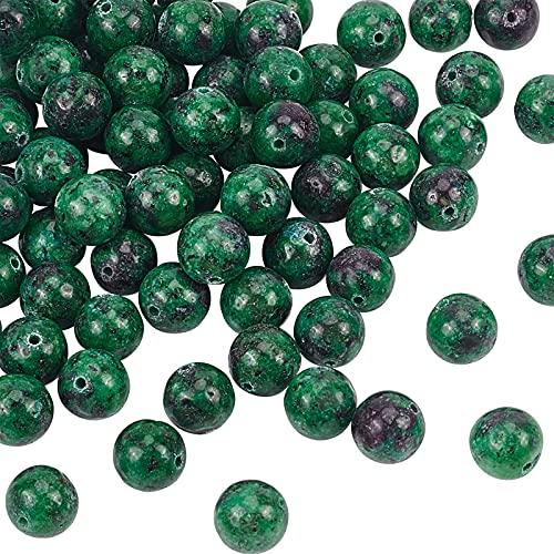 OLYCRAFT 80 cuentas de rubí natural en zoisita, cuentas de piedra, redondas, sueltas, de cristal, para hacer joyas, hecho a mano
