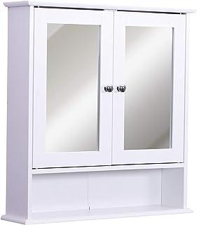 kleankin Armario de Baño con Espejo de Pared con 2 Puertas Armario de 3 Niveles para Almacenamiento Armario de Pared para Cocina Baño Salón Tablero de MDF Fuerte y Fácil de Limpiar Blanco 56x13x58cm