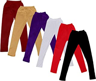 Indistar Big Girls' Super Soft Cotton Leggings (Set of -6)