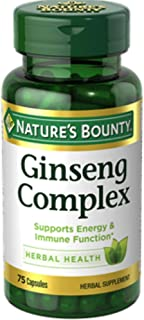 Nature's Bounty Ginseng Complex Herbal Health Capsules 75 ea (Pack of 4)