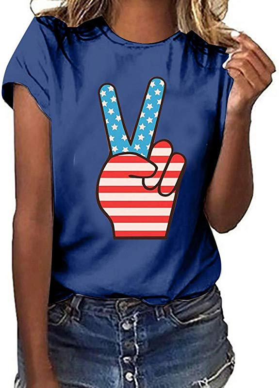 Women S Vogue Shoulder Off Wide Hem Design Top Shirt American Flag T Shirt