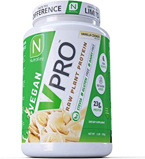 NutraKey V-Pro, Raw Plant Based Protein Powder with 23g of Protein, (Vanilla) 2-Pound