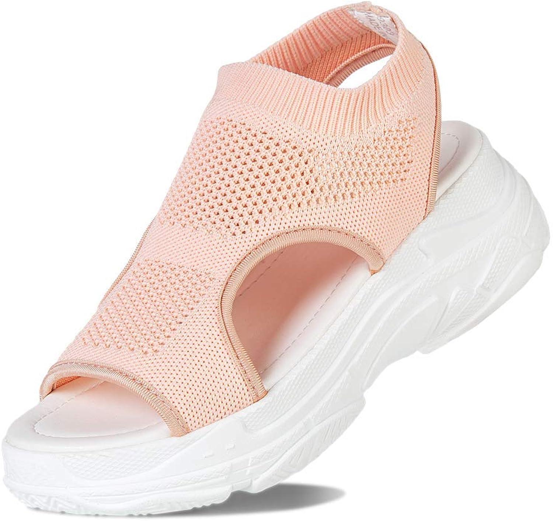 SUNROLAN Women's Open Toe Mesh Sandals Summer Lightweight and Breathable Slip on Backstrap Sport Sandals Pink 39 US 7.5