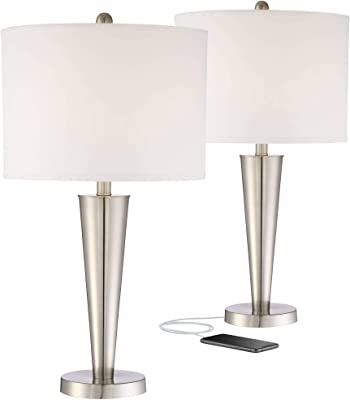 Geoff Modern Contemporary Table Lamps Set Of 2 With Hotel Style Usb Charging Port Brushed Nickel White Drum Shade For Living Room Bedroom House Bedside Nightstand Home Office 360 Lighting Amazon Com