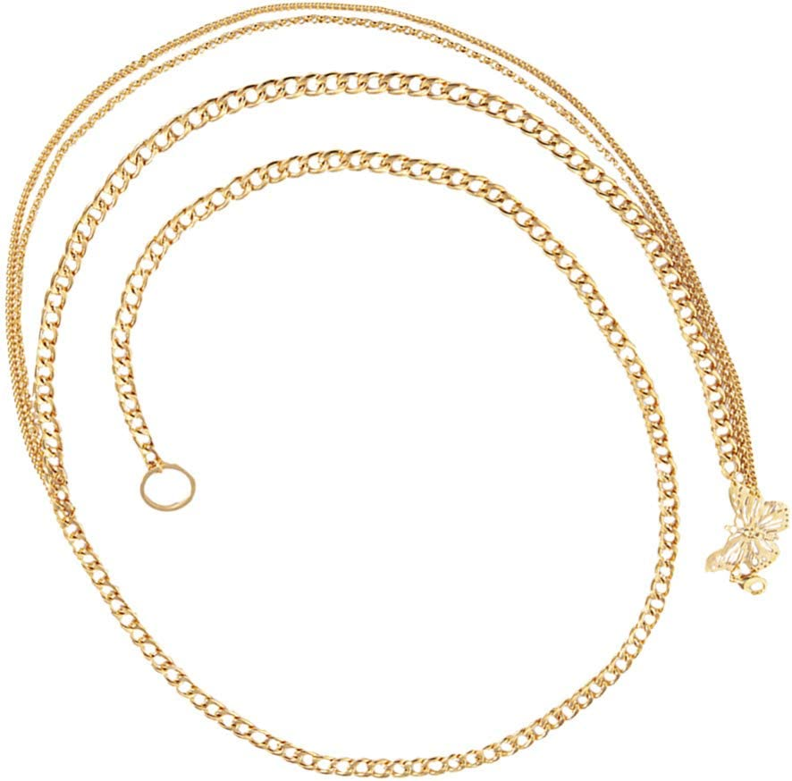 Holibanna Long Tassel Waist Chain Butterflies Body Chain Golden Waist Belt Pendant Belly Chain Adjustable Body Harness for Jeans Dresses