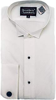New Men's White Wing Tip French Collar Tuxedo Shirt with Studs