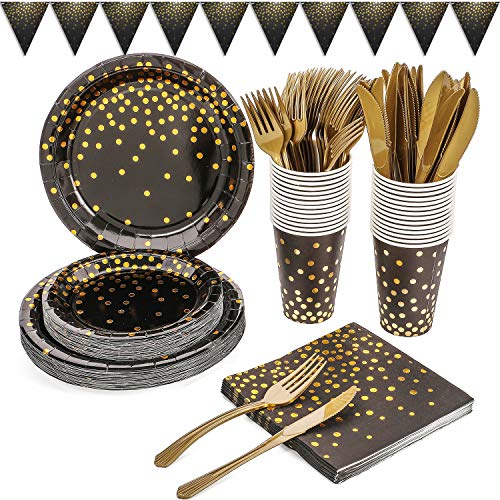 Duocute Schwarz und Gold Partygeschirr 150 Stück Golden Dot Partyteller Set Enthält Pappteller, Servietten, 12-Unzen-Tassen, Banner, für Geburtstag, Abschlussfeier, Cocktailparty, 25 Gäste