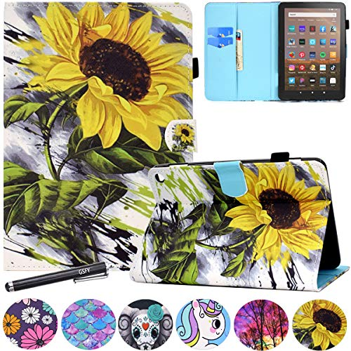 GSFY Case Compatible with All-New Kindle Fire HD 8 Tablet and Fire HD 8 Plus Tablet (10th Generation, 2020 Release), Wallet Stand Cover with Auto Wake/Sleep - Big Sunflower