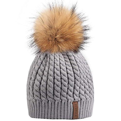 Winter Beanie Hats for Women FURTALK Womens Warm Knit Fur Bobble Pom Pom Hat d77554b3a9f2