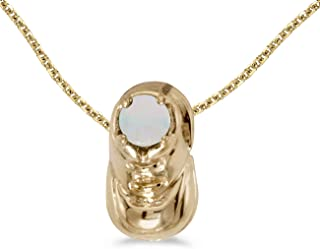 JewelrySuperMart Collection 0.09 Carat (ctw) 10k Gold Round White Opal Women's Baby Bootie Shoe Pendant with 18