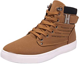 Fashion Canvas Sneakers for Men, Huazi2 Casual Oxfords High Top Shoes Leather Shoes