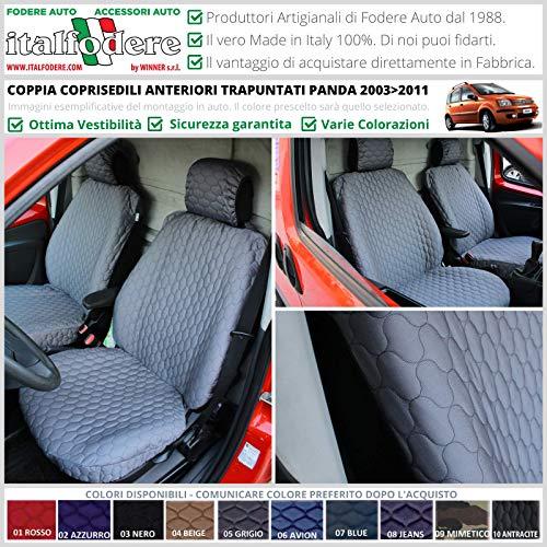 Par de fundas acolchadas delanteras para Fiat Panda (169 – II Serie) desde 2003 a 2011 - Plumas de varios colores (rojo 01)