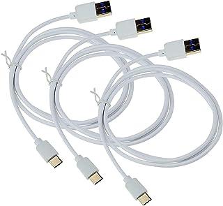 USB-C Type-C USB 3.0 SuperSpeed datakabel 1 meter laddare laddningskabel i vit laddningskabel (3 stycken) kompatibel med S...