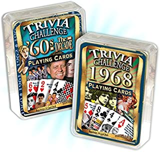 Flickback Media, Inc. 1968 Trivia Playing Cards & 1960's Decade Trivia Combo: 51st Birthday or Anniversary