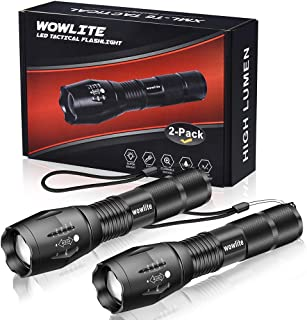 Tactical Flashlight, Wowlite 1600 LM Ultra Bright - CREE XML T6 LED Taclight As Seen On Tv with 5 Light Modes & Adjustable Focus for Emergency Camping Hiking(2 Pack)