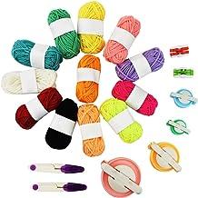 Pom Pom Maker Kits, Jerbro 6 Size Pompom Maker for Fluff Ball Weaver with 12 Acrylic Yarn Thread Cutter Scissors DIY Wool ...