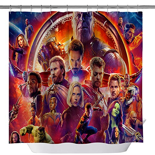 GOODCARE Classic Heroes Shower Curtain The Avengers Spider-Man Iron Man Hulk Full Hero Collection Polyester Fabric Shower Curtains for Bathroom, Party Decor Curtain Set Hooks Included, 71x71inch