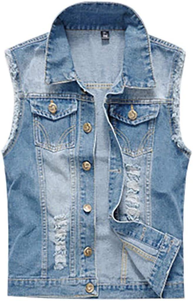 MODOQO Men's Vest Jeans Coat Casual Sleeveless Lapel Lightweight Cowboy Outwear Jacket Blue