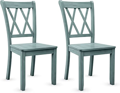 wholesale Giantex Set of 2 Dining Chairs, popular Rubber Wood Dining Room Side Chair, Mestler Dining Room sale Side Chairs for Home Kitchen, Dining Room, Mint Green outlet sale