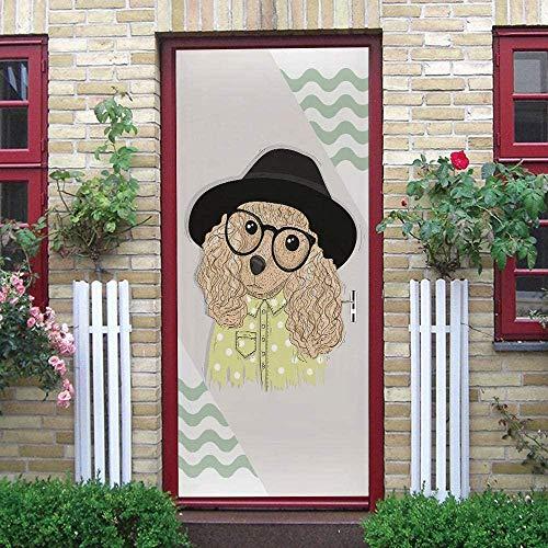 Ejiawj Etiqueta De La Puerta Dormitorio 95 X 215 cm Creatividad Dibujos Animados Osito De Peluche Gafas Impermeable Y Autoadhesivo Vinilo DIY Desmontable Dormitorio Sala De Estar Baño Calcomanía Arte