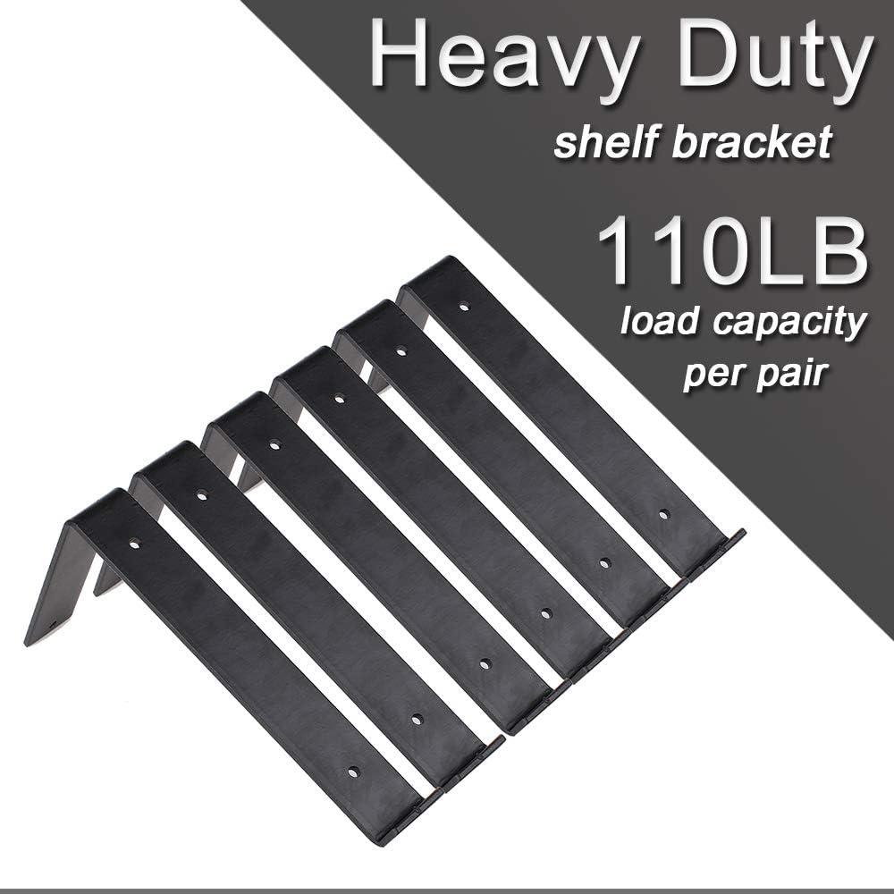Large Shelf Brackets 8 Inch Black Brackets with Lip Heavy Duty ...